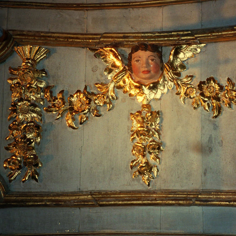 angel plaster with gilding